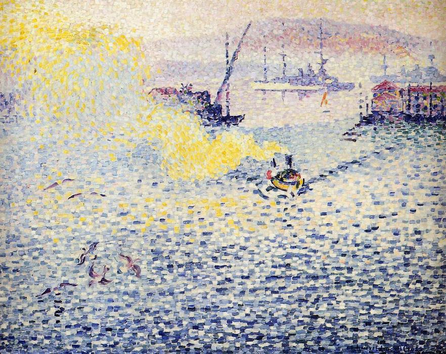 Toulon, Winter Morning, Oil On Canvas by Henri Edmond Cross (1856-1910, France)