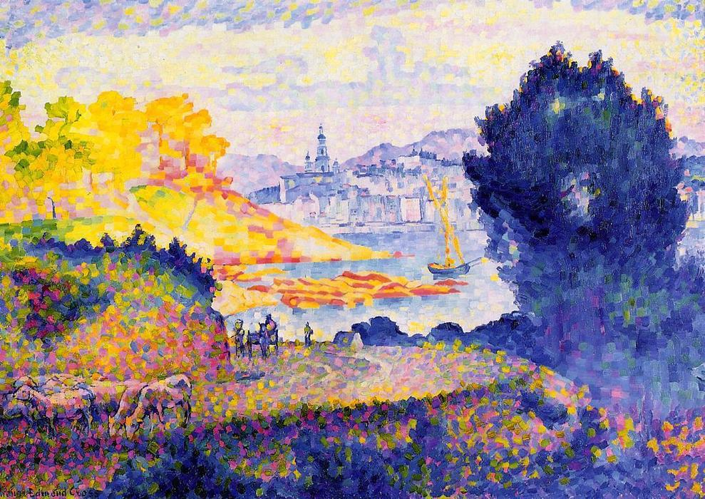 View of Menton, Oil On Canvas by Henri Edmond Cross (1856-1910, France)