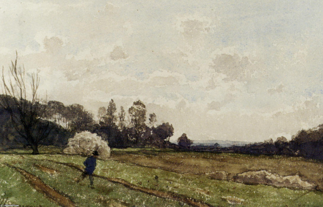A Farmer Crossing a Field by Henri-Joseph Harpignies (1819-1916, France)