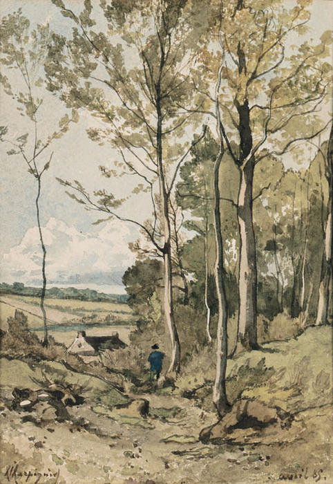 A Figure walking on a Path by Henri-Joseph Harpignies (1819-1916, France)