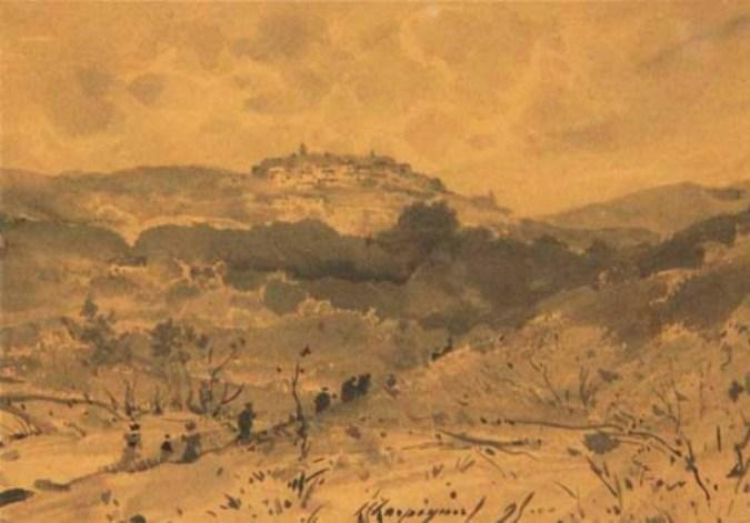 A landscape with a village on a hill by Henri-Joseph Harpignies (1819-1916, France)