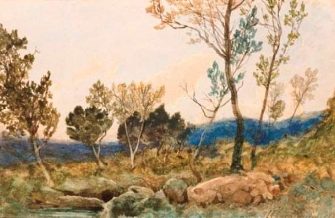 A landscape with trees and rocks in the foreground by Henri-Joseph Harpignies (1819-1916, France)