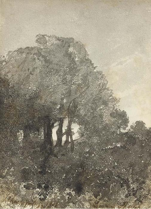 A landscape with trees by Henri-Joseph Harpignies (1819-1916, France)