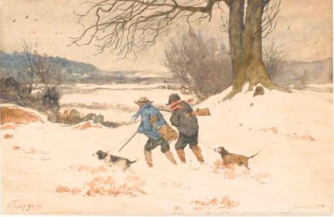 A snowy landscape with two hunters and two dogs by Henri-Joseph Harpignies (1819-1916, France)