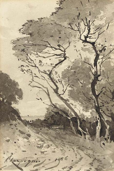 A tree-lined road overlooking the sea by Henri-Joseph Harpignies (1819-1916, France)