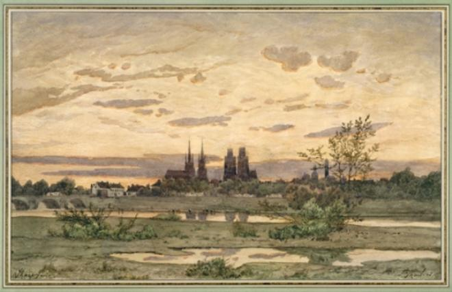 A View of Moulins by Henri-Joseph Harpignies (1819-1916, France)