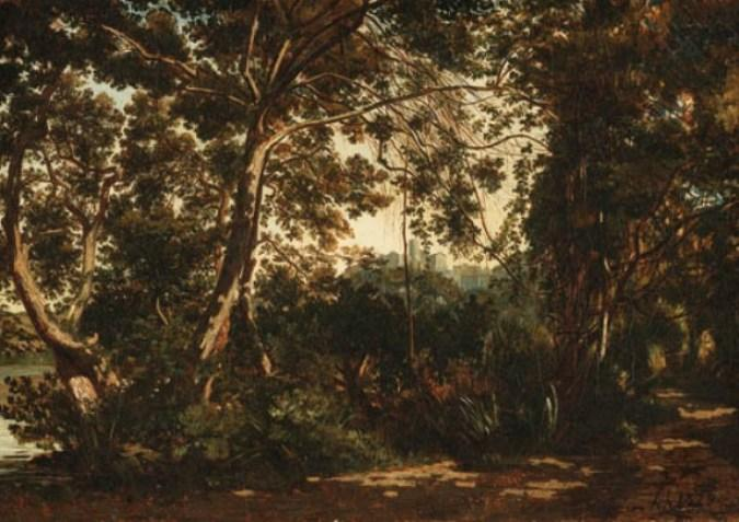 A wooded forest with a town beyond by Henri-Joseph Harpignies (1819-1916, France)