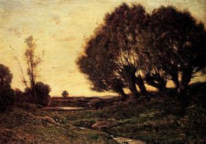 Henri-Joseph Harpignies - A Wooded Landscape With A Stre..