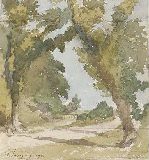 A wooded landscape by Henri-Joseph Harpignies (1819-1916, France)