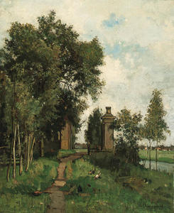 Henri-Joseph Harpignies - An Estate Entrance by a River