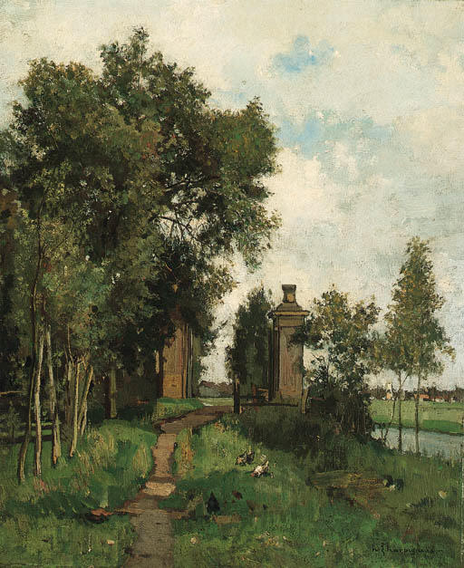 An Estate Entrance by a River by Henri-Joseph Harpignies (1819-1916, France)