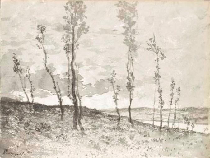 An extensive landscape seen through an avenue of poplar trees by Henri-Joseph Harpignies (1819-1916, France)