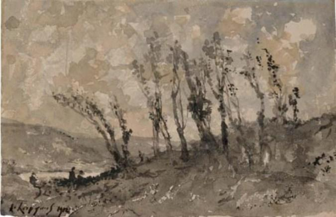 Characters in a landscape surrounded by trees by Henri-Joseph Harpignies (1819-1916, France)