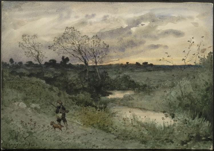 Dawn-Hunter with Dog by Henri-Joseph Harpignies (1819-1916, France)