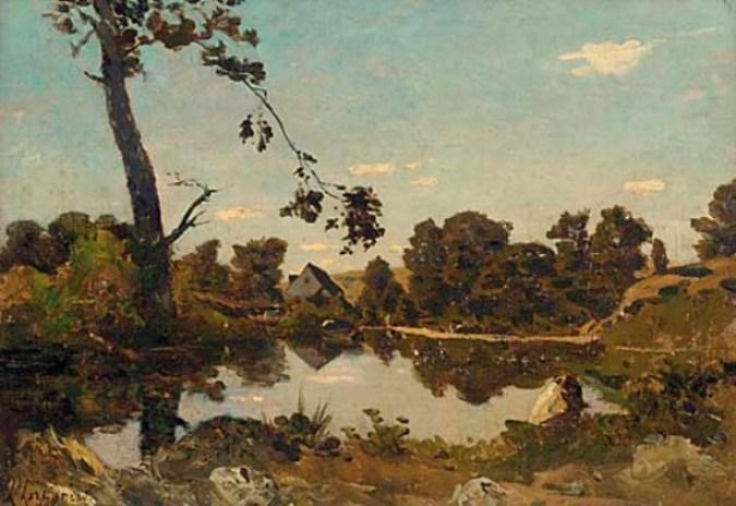 In the early evening light by Henri-Joseph Harpignies (1819-1916, France)
