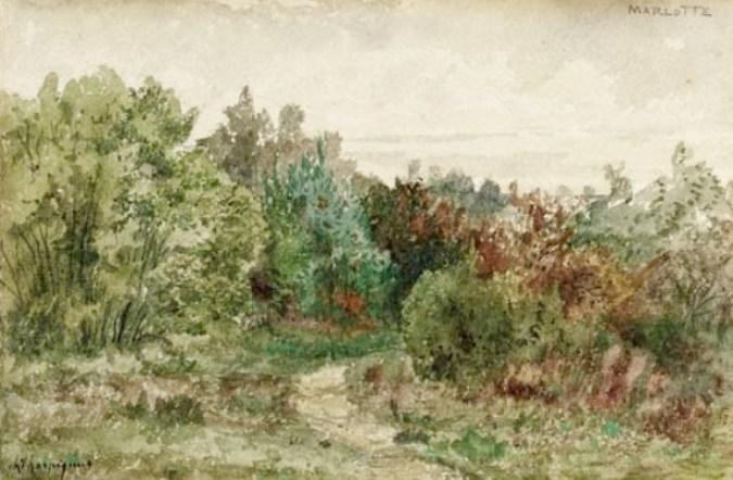 Landscape at Marlotte by Henri-Joseph Harpignies (1819-1916, France)