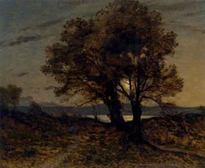 Henri-Joseph Harpignies - Landscape at moonlight