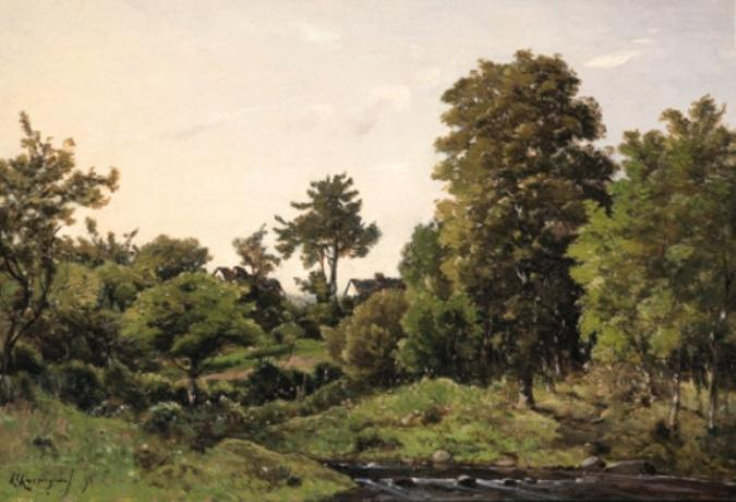 Landscape near St. Private by Henri-Joseph Harpignies (1819-1916, France)
