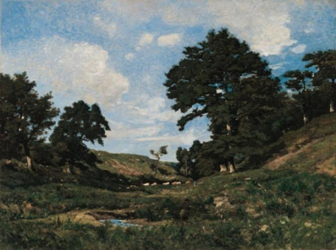Landscape with Cattle grazing by Henri-Joseph Harpignies (1819-1916, France)
