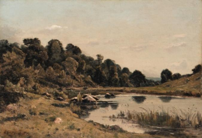 On the bank of the Aumance by Henri-Joseph Harpignies (1819-1916, France)