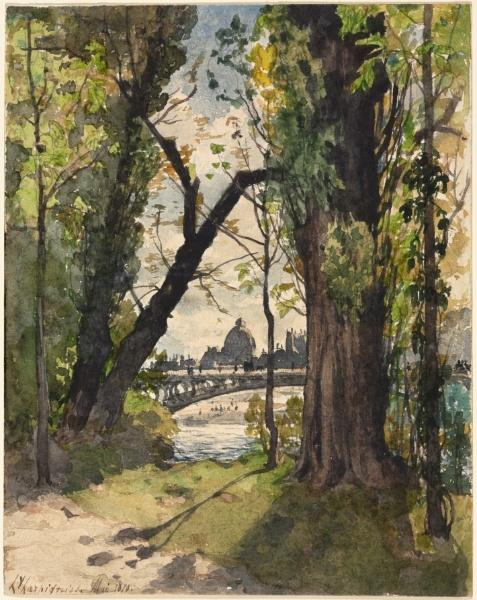 Paris from the Bois by Henri-Joseph Harpignies (1819-1916, France)