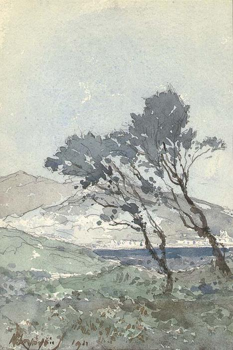 Pines at the edge of the sea area around Antibes by Henri-Joseph Harpignies (1819-1916, France)