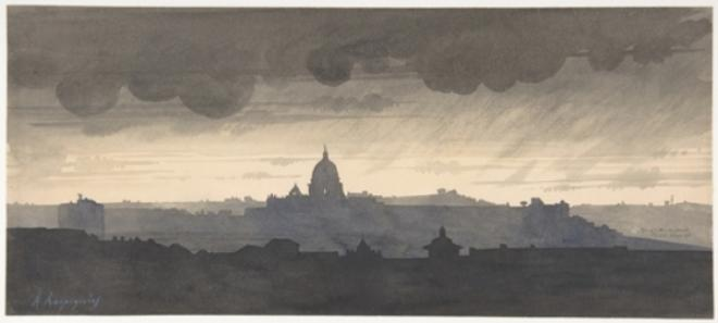 Saint Peter's Seen From the Pincio, Rome by Henri-Joseph Harpignies (1819-1916, France)