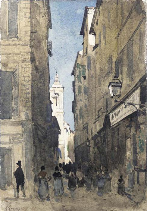 The church of Saint-Jacques in Old Nice by Henri-Joseph Harpignies (1819-1916, France)