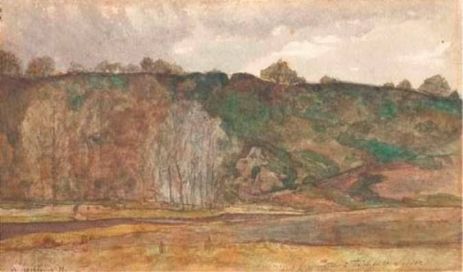 The crest of a hill by Henri-Joseph Harpignies (1819-1916, France)