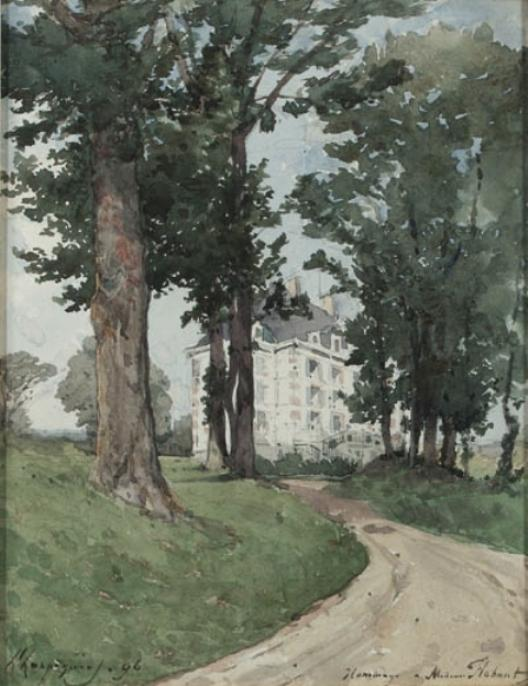The Flehant residence by Henri-Joseph Harpignies (1819-1916, France)