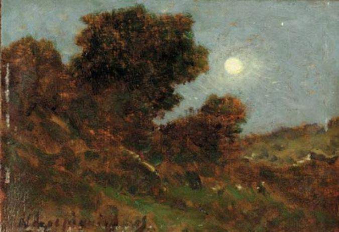 The moon by Henri-Joseph Harpignies (1819-1916, France)