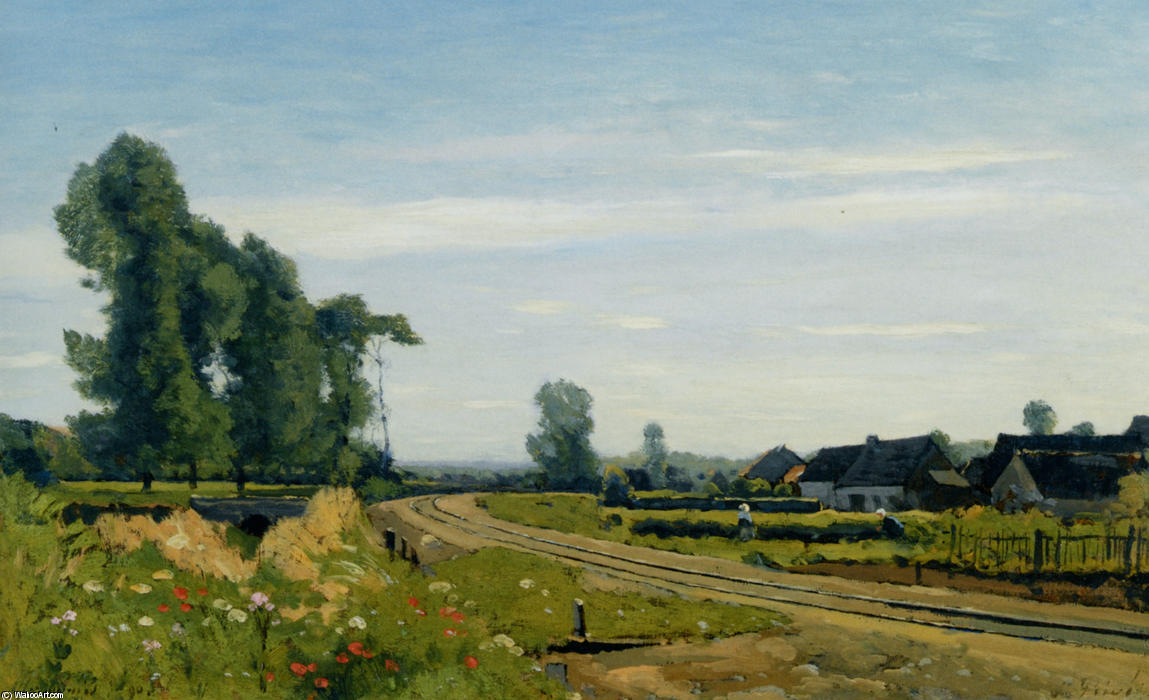 The railway at a Saint Prive by Henri-Joseph Harpignies (1819-1916, France)
