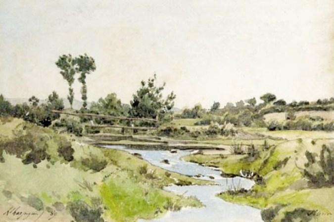 The river at St. Private by Henri-Joseph Harpignies (1819-1916, France)