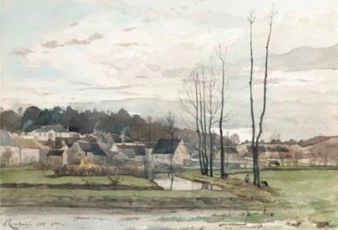 The Village of St. Private by Henri-Joseph Harpignies (1819-1916, France)