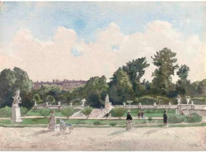View from the Luxembourg Gardens, Paris by Henri-Joseph Harpignies (1819-1916, France)