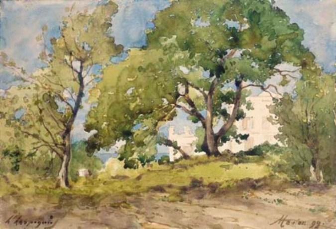 View of a villa in Menton behind trees by Henri-Joseph Harpignies (1819-1916, France)