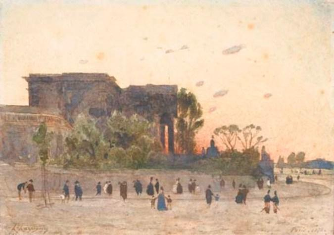 View of the National Assembly in Paris, the figures in the foreground by Henri-Joseph Harpignies (1819-1916, France)