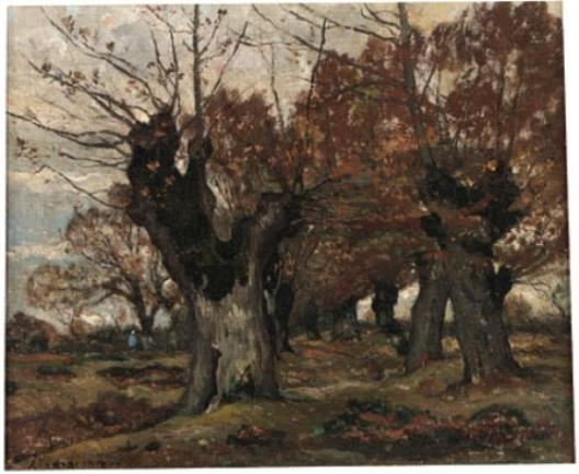 Willow in a landscape by Henri-Joseph Harpignies (1819-1916, France)