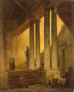 Hubert Robert - Staircase with Columns