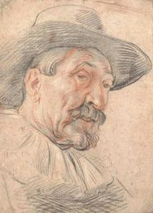 Jacob Jordaens - A bearded man, bust-length, wearing a broad brimmed hat and a ruff