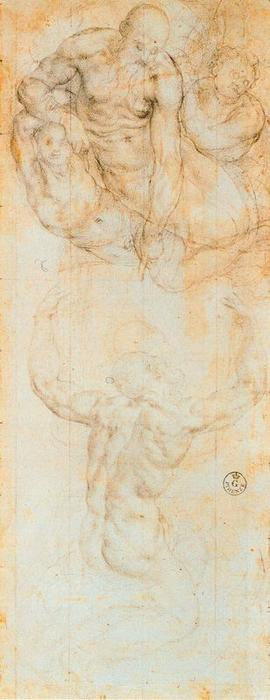Compositional study for Moses Receiving the Tables of the Law by Jacopo Carucci (Pontormo) (1494-1557, Italy) | Museum Art Reproductions Jacopo Carucci (Pontormo) | ArtsDot.com