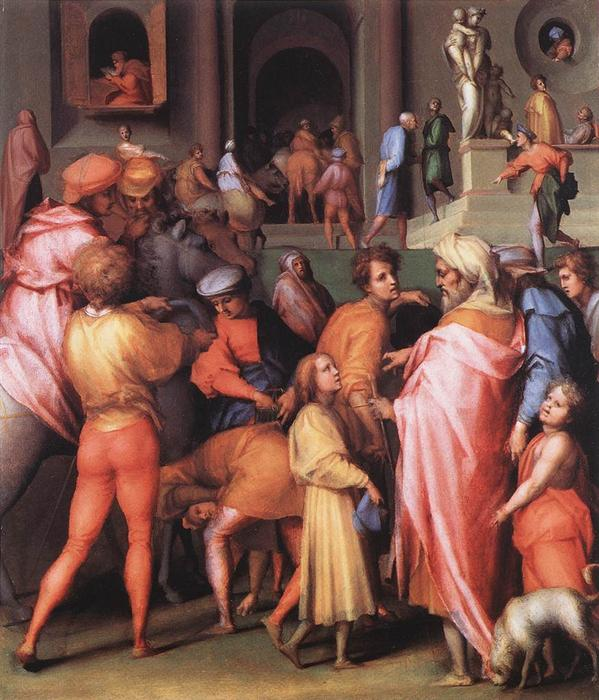 Joseph Being Sold to Potiphar by Jacopo Carucci (Pontormo) (1494-1557, Italy) | Art Reproductions Jacopo Carucci (Pontormo) | ArtsDot.com