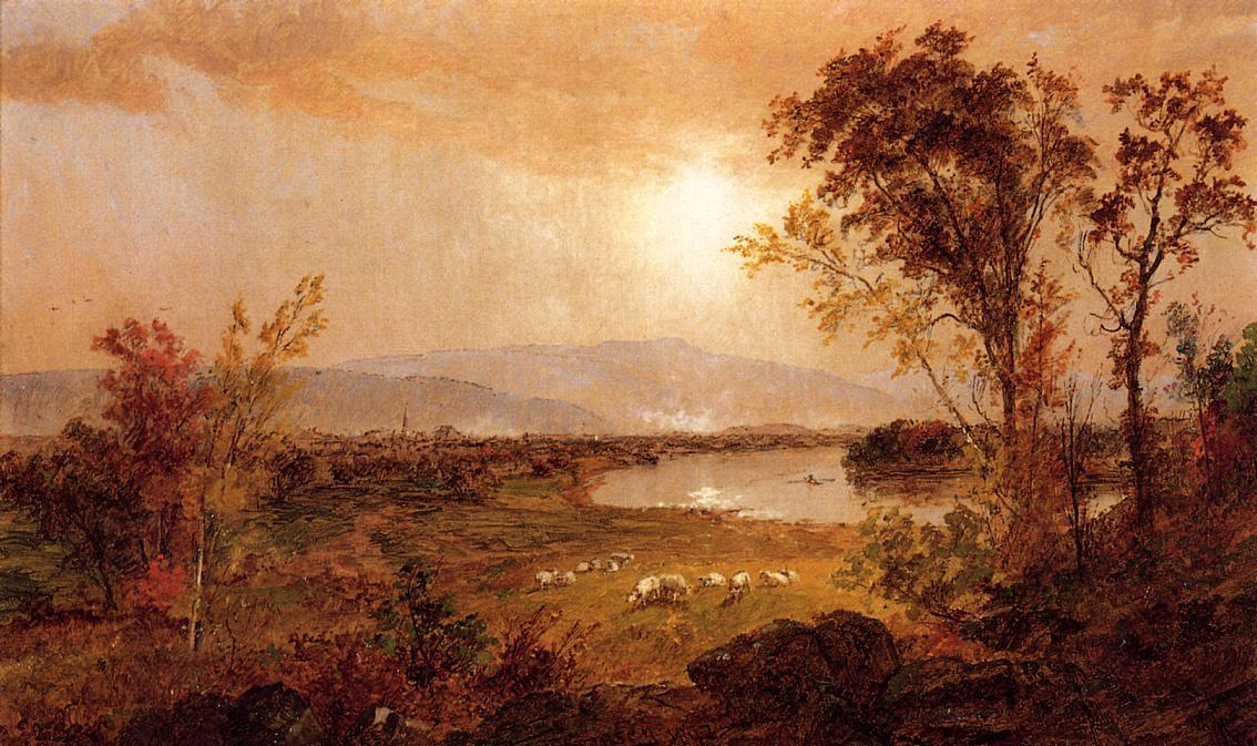 A Bend in the River by Jasper Francis Cropsey (1823-1900, United States)