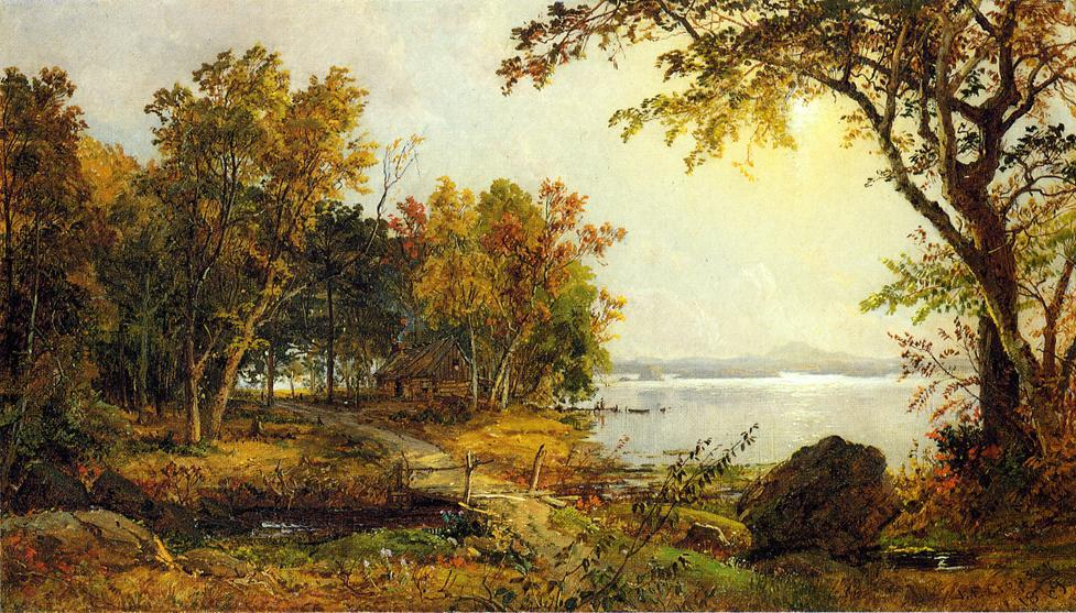 A Cabin on Greenwood Lake by Jasper Francis Cropsey (1823-1900, United States) | Painting Copy | ArtsDot.com