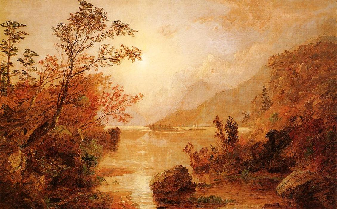 Autumn in the Highlands of the Hudson by Jasper Francis Cropsey (1823-1900, United States)