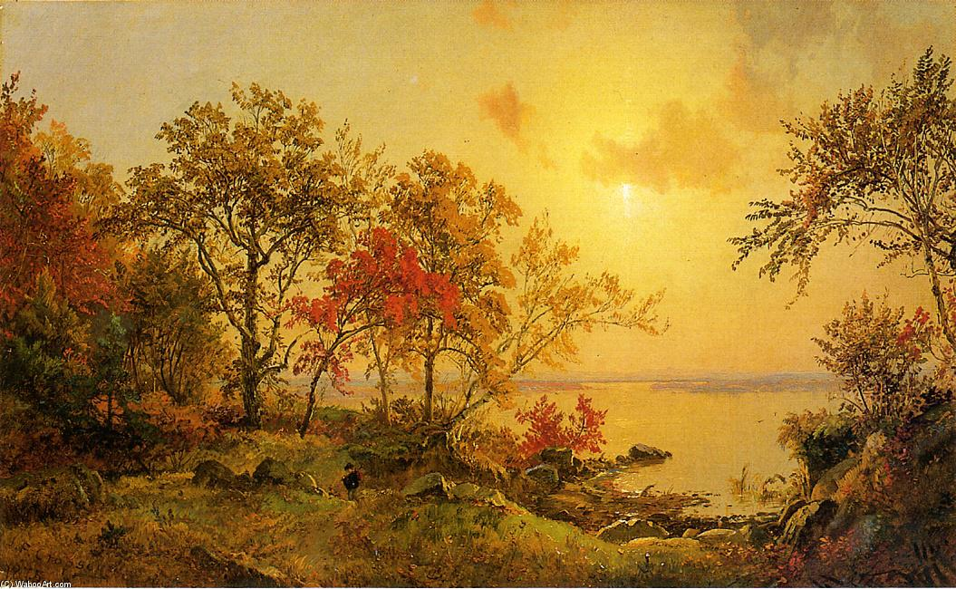 Autumn Landscape - View of Greenwood Lake by Jasper Francis Cropsey (1823-1900, United States) | ArtsDot.com