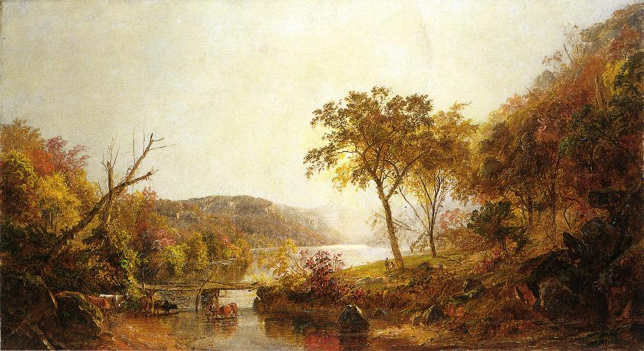 Autumn on Ramapo River, New Jersey by Jasper Francis Cropsey (1823-1900, United States)