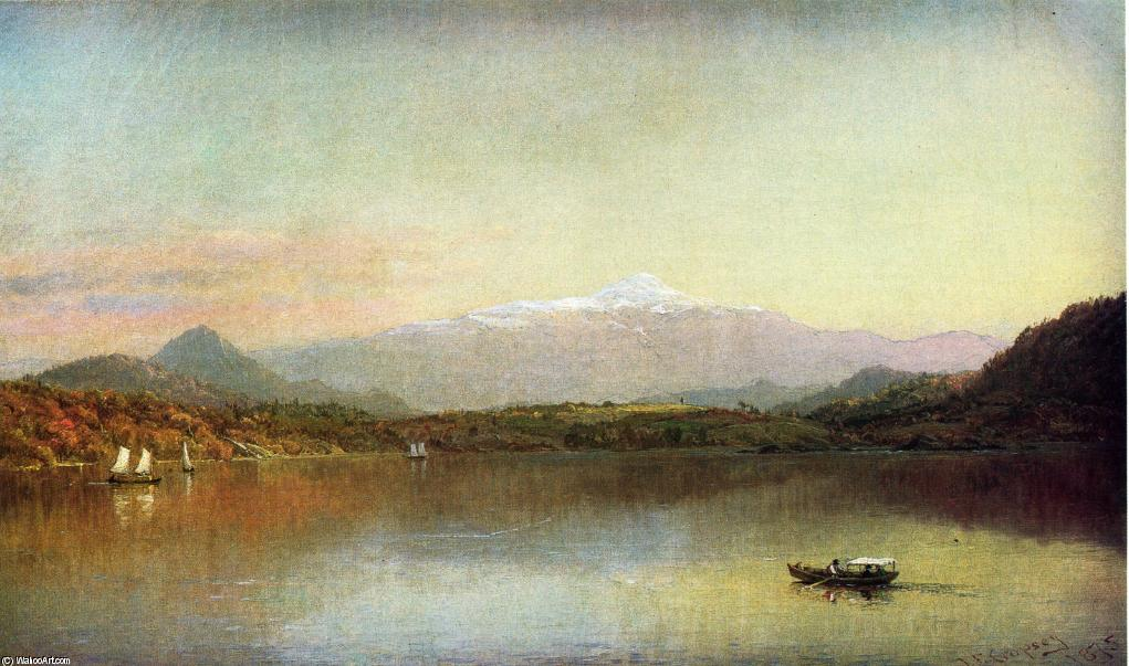 Boaters on a Lake by Jasper Francis Cropsey (1823-1900, United States)