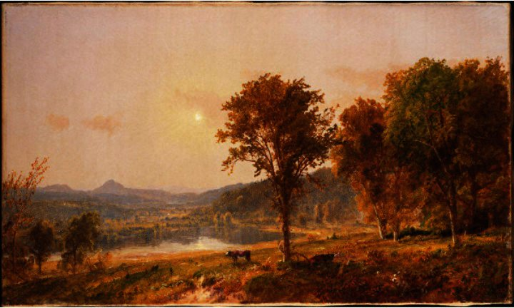 Brimstone and Sugar Loaf Mountains from Warwick by Jasper Francis Cropsey (1823-1900, United States)