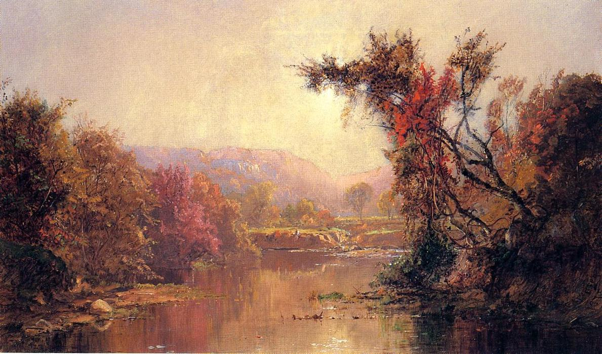 By the River by Jasper Francis Cropsey (1823-1900, United States)